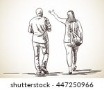 sketch of walking couple  hand... | Shutterstock .eps vector #447250966
