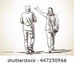 sketch of walking couple  hand... | Shutterstock .eps vector #447250966