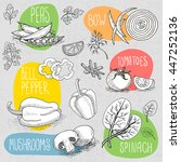 set of stickers in sketch style ... | Shutterstock .eps vector #447252136