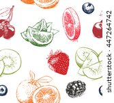 Hand drawn collection of fruits pattern including seamless on background. Falling berries, lime, pink grapefruit and orange isolated on white background.