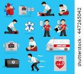 cpr   cardiopulmonary... | Shutterstock .eps vector #447265042