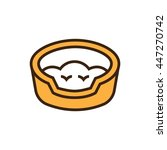 Stock vector cat basket bed icon in flat style 447270742