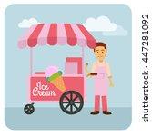 Pink Ice Cream Vendor On The...