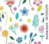simple floral pattern. blue ... | Shutterstock . vector #447292195