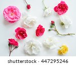 assorted pink roses heads on... | Shutterstock . vector #447295246