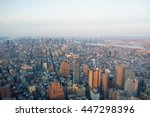 manhattan aerial shot from one... | Shutterstock . vector #447298396