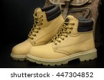 pair of men's brown steel toe... | Shutterstock . vector #447304852