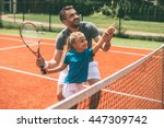 Tennis is fun when father is...