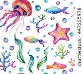 hand drawn watercolor seamless...   Shutterstock . vector #447325978