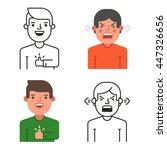 cute cartoon office workers.... | Shutterstock .eps vector #447326656