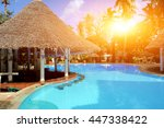 house with blue swimming pool... | Shutterstock . vector #447338422