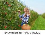 beautiful young woman picking... | Shutterstock . vector #447340222