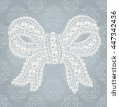 cute bow with pearls and... | Shutterstock .eps vector #447342436