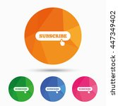 subscribe with hand pointer... | Shutterstock .eps vector #447349402