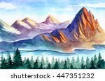 watercolor mountains | Shutterstock . vector #447351232