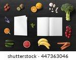 healthy food brochure mock up ... | Shutterstock . vector #447363046