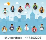 group of connecting businessman ... | Shutterstock .eps vector #447363208