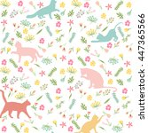 cats and flowers  seamless... | Shutterstock .eps vector #447365566