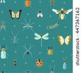 geometric pattern with bugs and ... | Shutterstock .eps vector #447367162