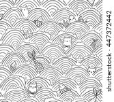 seamless pattern with funny... | Shutterstock .eps vector #447372442