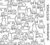 seamless pattern with funny... | Shutterstock .eps vector #447373426