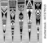 black and white tribal navajo... | Shutterstock .eps vector #447379015