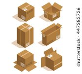 isometric icon box set. vector... | Shutterstock .eps vector #447382726