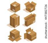 isometric icon box set. vector... | Shutterstock .eps vector #447382726