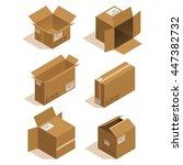 isometric icon box set. vector... | Shutterstock .eps vector #447382732