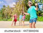 cheers  welcome to the beach... | Shutterstock . vector #447384046