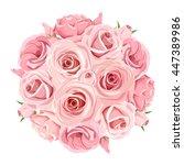 vector pink roses bouquet...   Shutterstock .eps vector #447389986