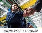 portrait of a man giving an... | Shutterstock . vector #447390982
