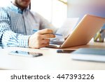 business man working at office... | Shutterstock . vector #447393226