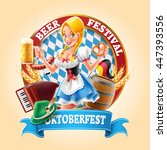 oktoberfest banner with sexy... | Shutterstock .eps vector #447393556