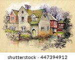 watercolor rural house in green ... | Shutterstock . vector #447394912