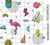 seamless pattern with flamingos ... | Shutterstock .eps vector #447399292