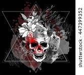 trash skull with blood splatter ... | Shutterstock .eps vector #447399352