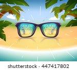 sunglasses on summer sea coast...   Shutterstock .eps vector #447417802