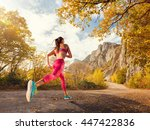 young woman running on a... | Shutterstock . vector #447422836