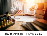 young man lawyer give... | Shutterstock . vector #447431812