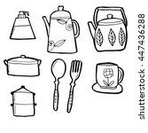 utensils in hand drawn floral... | Shutterstock .eps vector #447436288