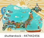 japan travel map design with... | Shutterstock .eps vector #447442456