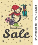 christmas sale card with hand... | Shutterstock .eps vector #447465385