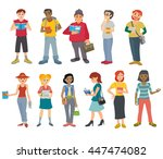 students reading books set.... | Shutterstock .eps vector #447474082