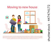 moving to new house... | Shutterstock .eps vector #447474172