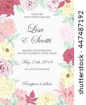 wedding floral invitation with... | Shutterstock . vector #447487192