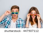 wow  surprised man and woman in ... | Shutterstock . vector #447507112