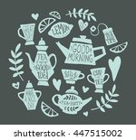 tea party handsketched doodle... | Shutterstock .eps vector #447515002