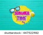 summertime design. painted wood ... | Shutterstock .eps vector #447522982