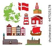 denmark icons set. pixel art.... | Shutterstock .eps vector #447525178